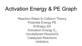 Activation Energy and PE Graph