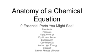 Anatomy of  a Chemical Eqation