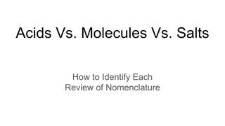 Acids Vs. Molecules Vs. Salts