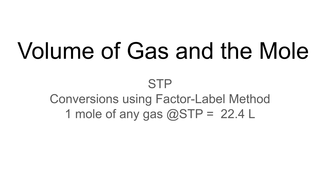 Volume of Gas and the Mole