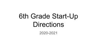 6th grade start-up 2020