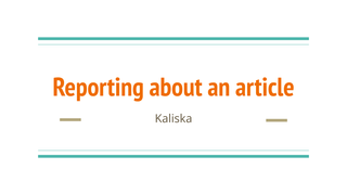 Reporting about an article