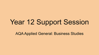 Year 12 Support Session June 1