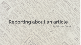 Reporting about an article Ele
