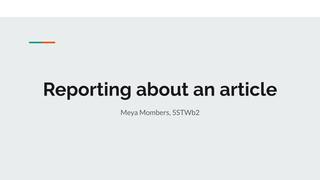 Speaking 'Reporting'