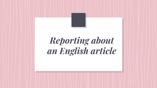 Reporting about an English art