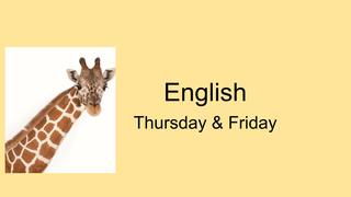 English Thurs & Fri