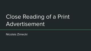 Close Reading Print Advertisem