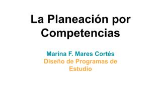 La Planeación por Competencias
