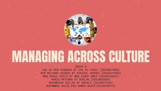 MANAGING ACROSS CULTURE