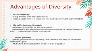 Advantage of Diversity