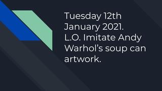 Soup can art lesson