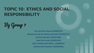 ETHICS AND SOCIAL RESPONS