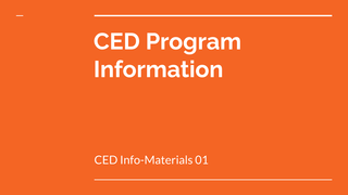 CED Info-Materials 01: CED Pro